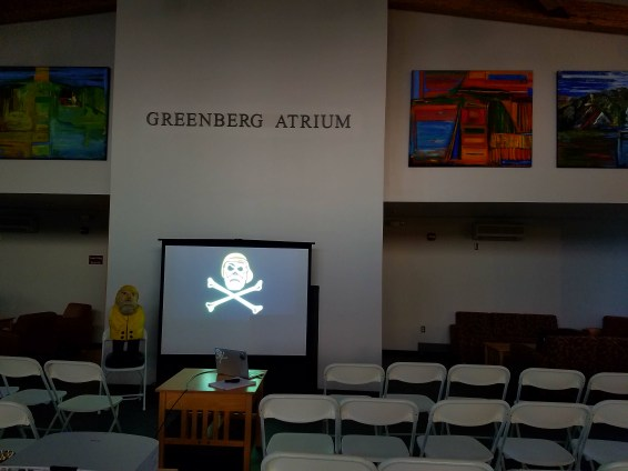 Captain Ahab of Ahab's Adventures getting ready to present at Southern Vermont College 2017