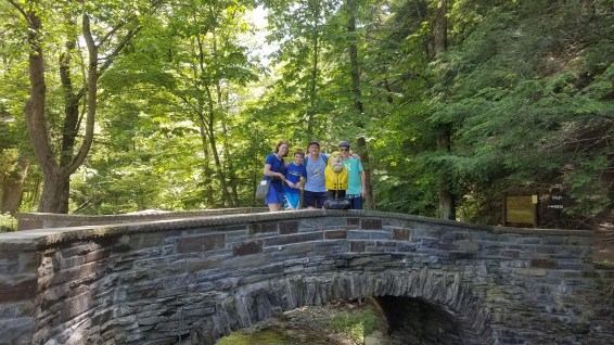 Captain Ahab of Ahab's Adventures making new friends in Robert H Treman State Park 2019