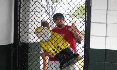 Captain Ahab of Ahab's Adventures trying to get into a Preseason Boston Red Sox Game in Fort Lauderdale Florida 2006