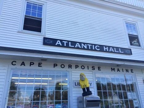 Captain Ahab of Ahab's Adventures outside Atlantic Hall before our speaking gig in Cape Porpoise Maine 2015