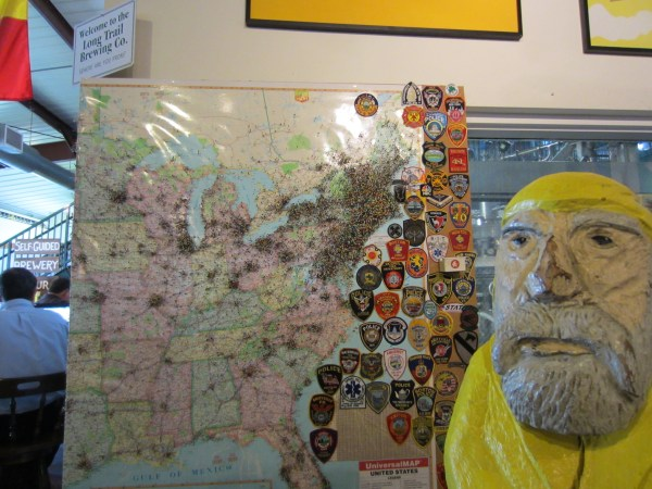 Captain Ahab of Ahab's Adventures at Long Trail Brewing Co. checking off his Vermont Brewery Passport 2011