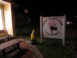 Captain Ahab of Ahab's Adventures at Cape Porpoise Creamery after our speaking gig for a well earned ice cream in Cape Porpoise Maine 2015
