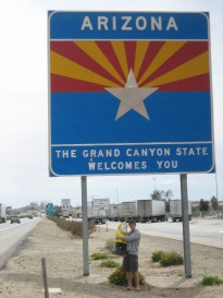 Captain Ahab of Ahab's Adventures entering Arizona on his Cross Country Road Trip of 2006