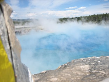 Captain Ahab of Ahab's Adventures at the Grand Prismatic Spring in Yellowstone National Park in Wyoming 2009