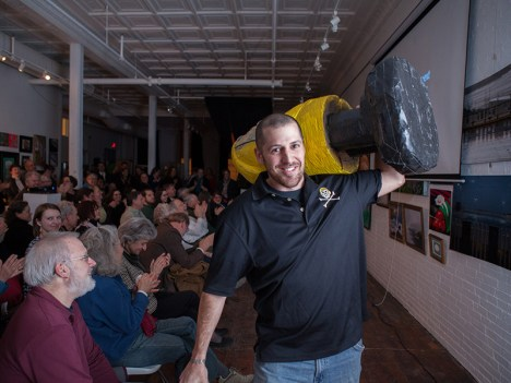 Captain Ahab of Ahab's Adventures at his Pecha Kucha in Biddeford Maine 2014