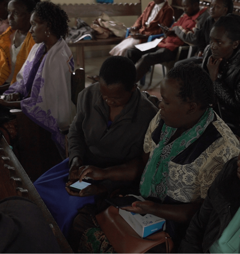Community health workers in Kenya accessing training courses, launched in partnership with Takeda and the National Cancer Institute of Kenya, via mobile technology