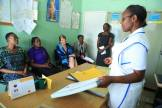 A nurse explains the achievements of the clinic. The facility which has registered 46 new clients since January 2016