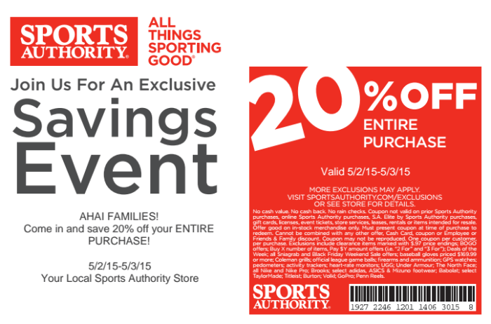 Sports Authority April Event Coupon