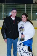 Terry J. Stasica MVP Award Recipient, Corynn Salazar - Lake Forest High School, with Terry's brother, Charlie Stasica
