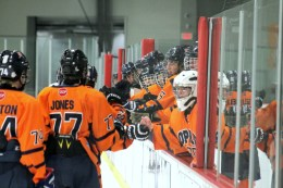 The OPRF bench celebrates one of the seven goals against Mt. Carmel.