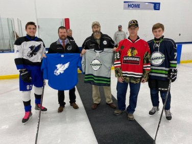 Mid-Valley Rampage pays tribute to wounded warrior with Fox Valley Hawks