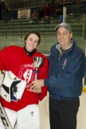AHAI Girls' High School All-State Terry J. Stasica MVP Recipient: Sarah G. Matthews, Lake Forest with AHAI Director, Mike Mullally