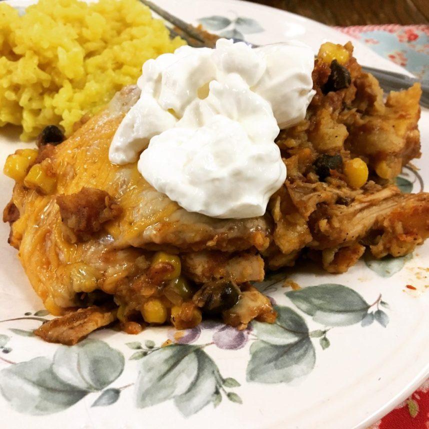 layered chicken enchilada casserole