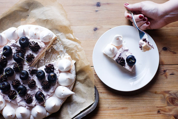 black forest pavlova kirsch creme de cassis black cherries meringue