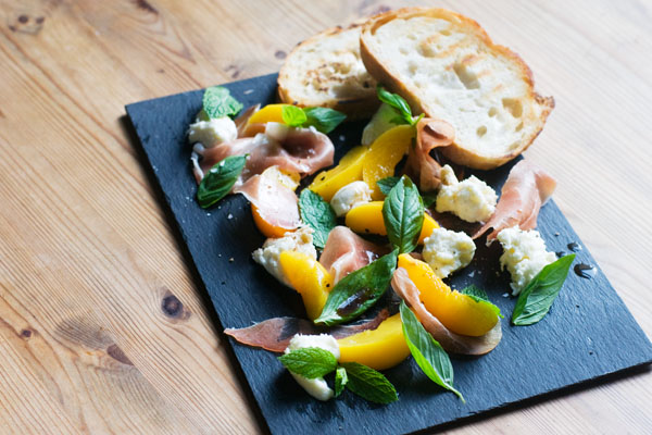 peach parma ham basil mint salad burrata