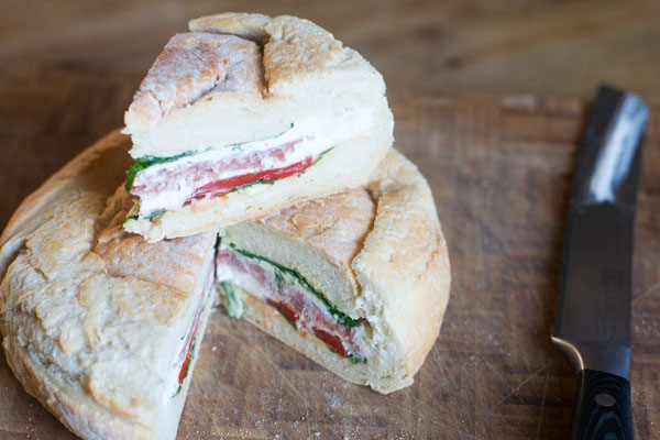 picnic loaf salami salted ricotta roasted peppers spinach lunch box