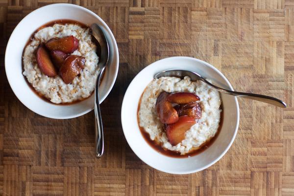 pinhead porridge spiced plum compote