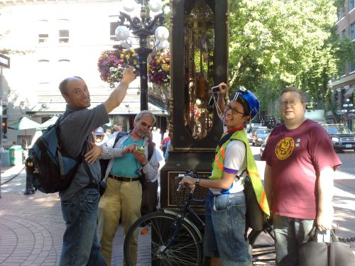Mobie Media crew by the Steam Clock in Gastown