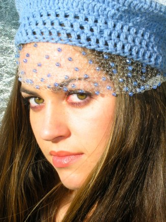 Beret with Veil - Organic Cotton and Recyclable Beads