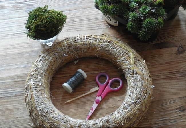 Materials needed to make summer garden wreath