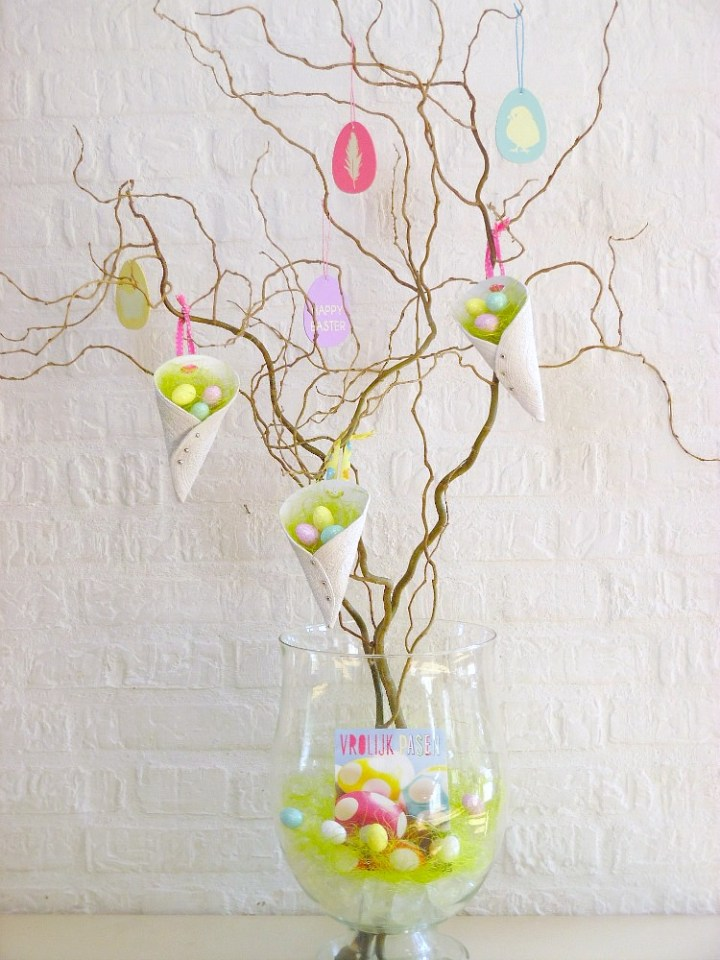 Curly Twigs Displaying Easter Decorations