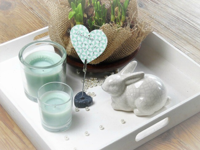 Easter Coffee Table Display With White Ceramic Rabbit