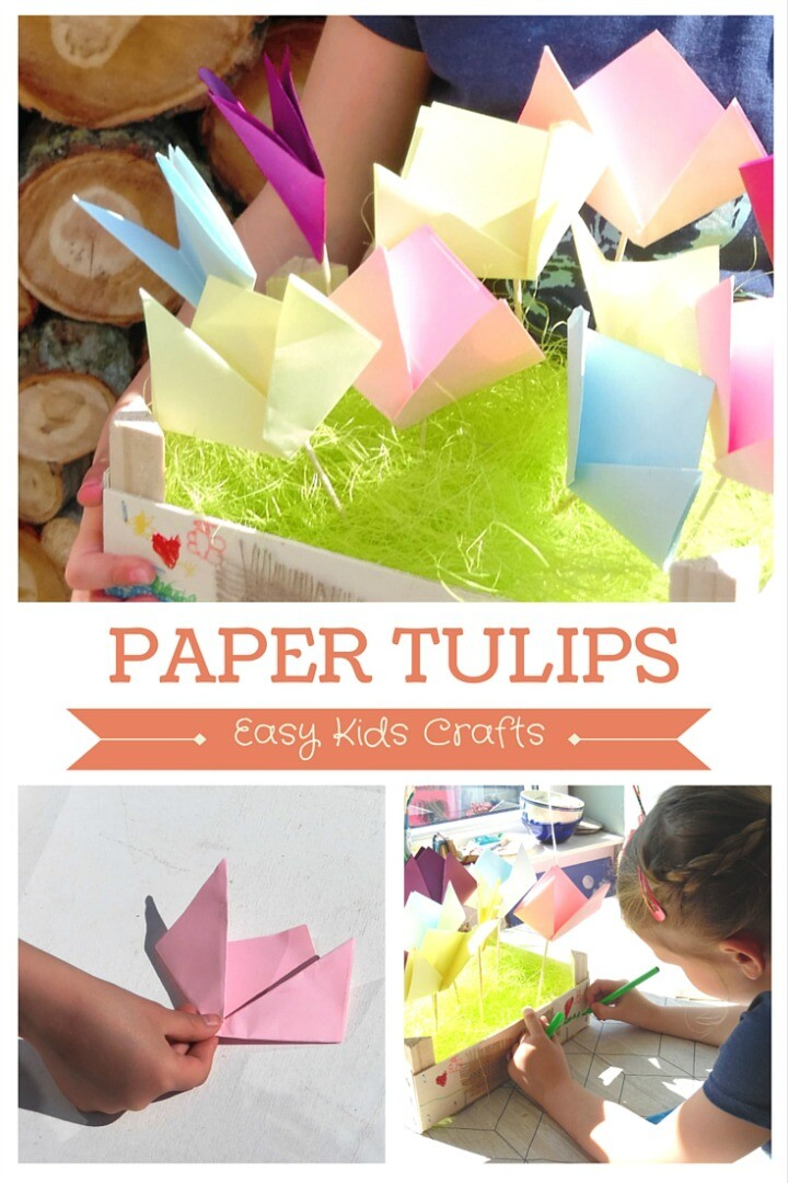 Child Making Tulips Made From Paper Squares And Bamboo Skewers