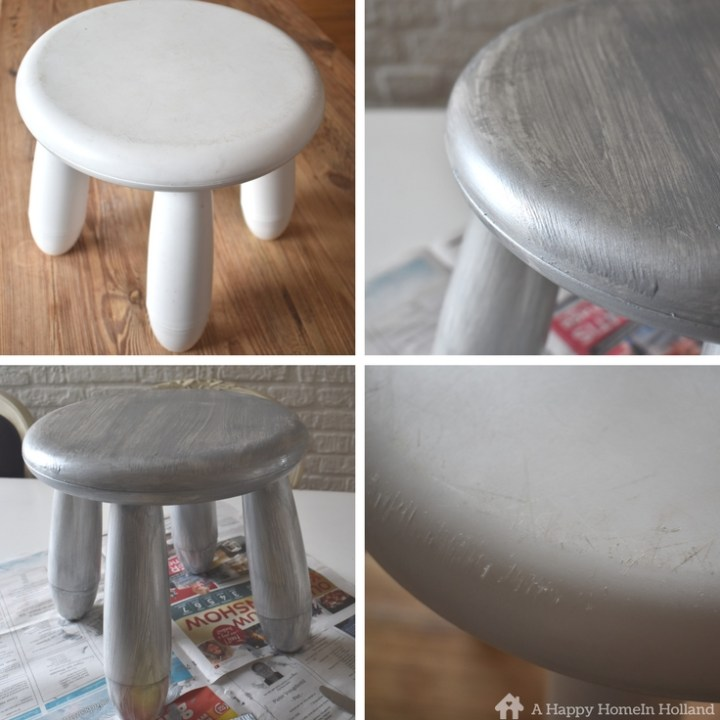 diy ikea mammut stool makeover with metallic chalk paint. Black Bedroom Furniture Sets. Home Design Ideas