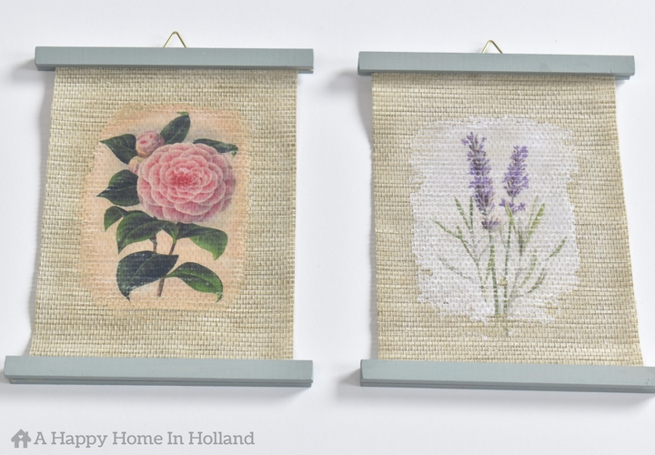 Mod Podge Upcycle Project Idea: Learn how to make your own personalized art wall art using old roller shades and the mod podge photo transfer technique