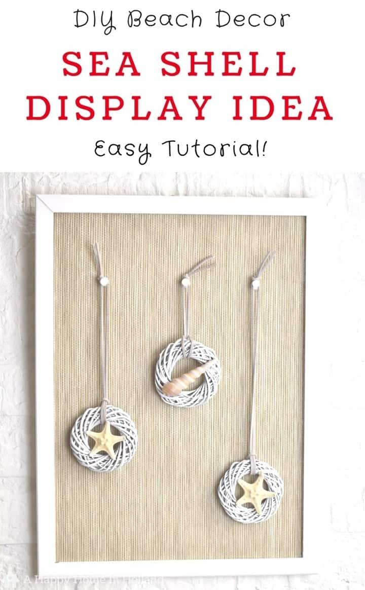 Summer Beach themed decor idea - Easy DIY using shells, mini wreaths and an old pin board.