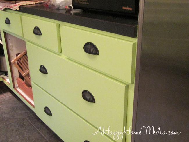 Benjamin Moore daphne green kitchen cabinets