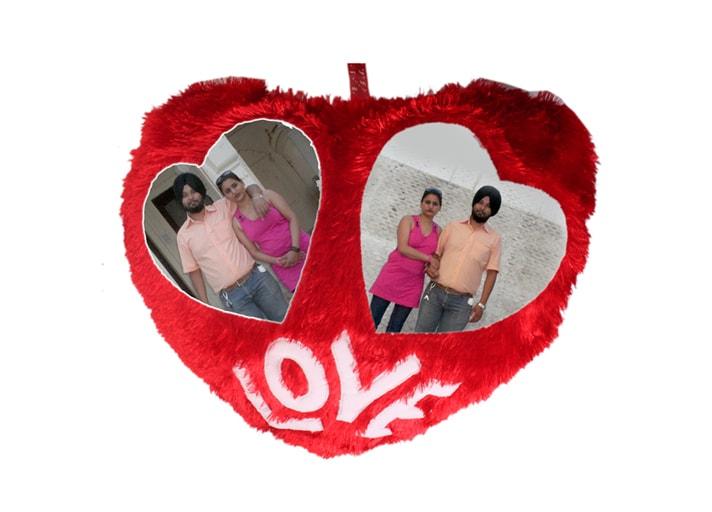 photo cushion red fur heart with dual photos love
