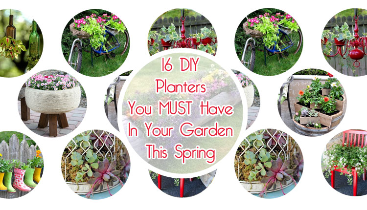 Spring is just around the corner, and with spring, comes gardening! These 16 DIY planter ideas will get you excited to  get that garden started! I know we are excited to get to making more than a few of them!