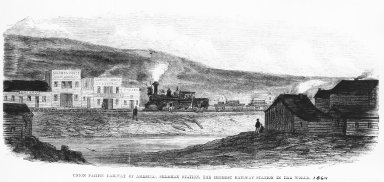 Drawing of the Sherman Station, WY, in 1869