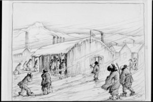 Drawing of audience braving the snow at Heart Mountain to attend a theatrical performace, from Estelle Ishigo Photographs