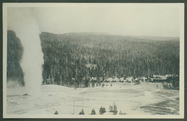 Old Faithful Camp and geyser, Arthur Edward Demaray papers, Collection #4031, Box 30. University of Wyoming, American Heritage Center.