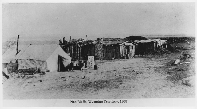"""At Pine Bluffs, 1868. Pine Bluffs was the easternmost Union Pacific Railroad Station in Wyoming. This is one of the images from the """"Hell on Wheels"""" exhibit. (Clarice Whittenburg papers)"""