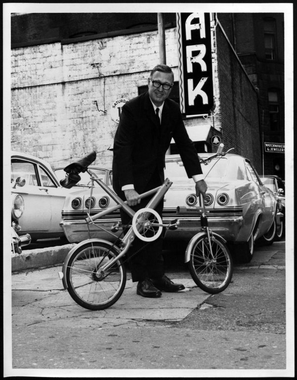 Gutheim, circa 1962, with a 'portable' bicycle.  Box G142, Folder 27,