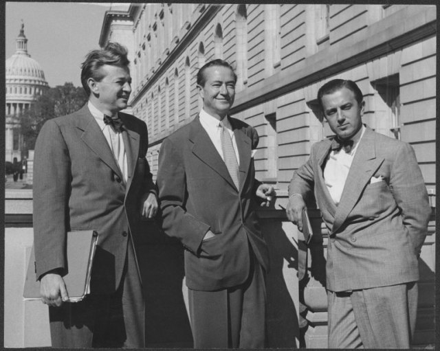 Adrian Scott, Bartley Crum, and Edward Dmytryk outside of a building in Washington, D.C.  Adrian and Joan Scott Papers, Collection #3238, Box 2,  Folder 21. UW American Heritage Center.