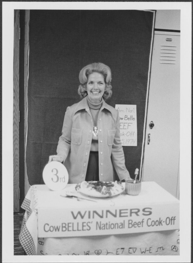 Third place cook-off winner, Frances Davis, 1974, American National Cattlewomen records, Box 19, Folder 1. Collection #5552,  University of Wyoming, American Heritage Center,