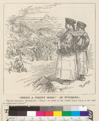 "Cartoon shows two men in traditional Chinese clothing looking down at large groups of violence below them. Area showing the massacre contains lots of men attacking Chinese men. Caption says ""Here's a pretty mess! (In Wyoming.) Chinese Satirical Diplomatist. There's no doubt of the United States being at the head of enlightened nations!"""