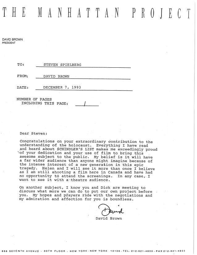 Letter Schindler box 46