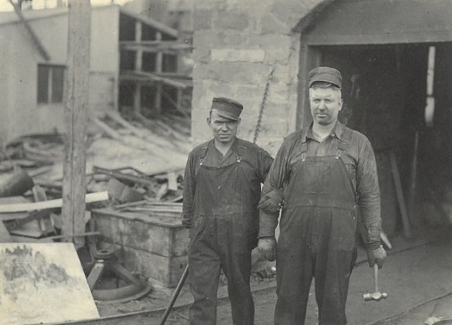 Smokey Talovich and Ray Dickey blacksmiths Gebo 1927