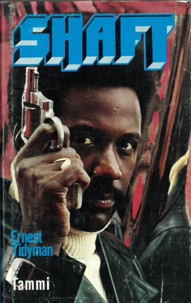 book cover with text featuring person holding pistol