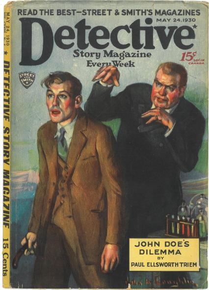 Detective Story Magazine cover with two people on cover and text