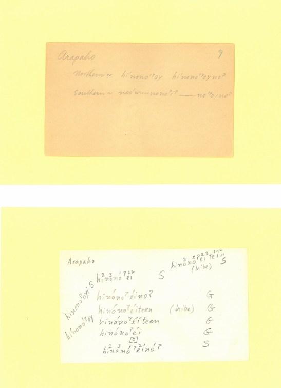 Arapaho language dictionary cards