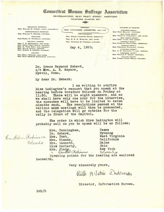 letter from Ruth McIntire Dadourian to Grace Raymond Hebard giving instructions for speakers in Connecticut