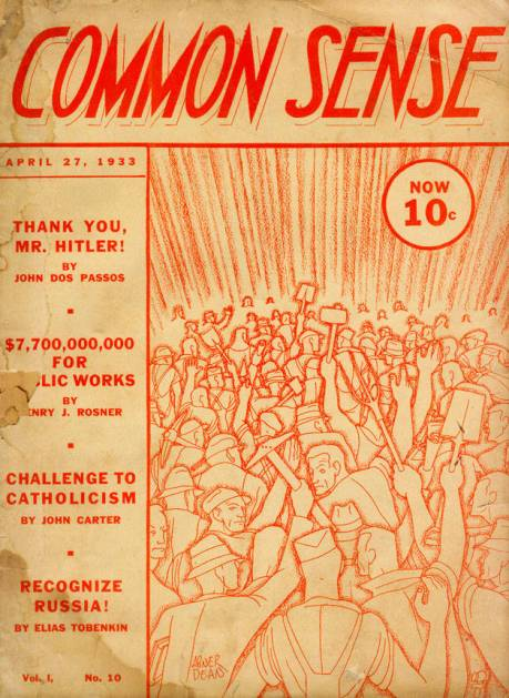 Cover of the April 27, 1933, issue of the political magazine Common Sense co-founded by Selden Rodman.