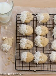 White Chocolate Coconut Cookie Recipe | ahealthylifeforme.com