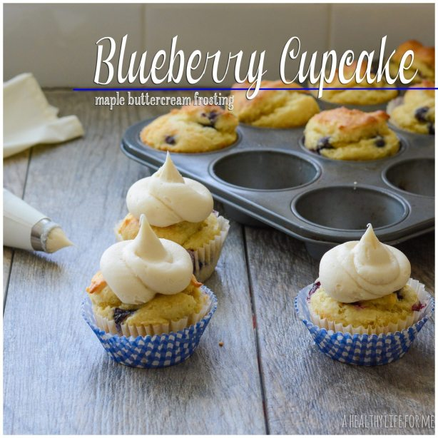 Blueberry Cupcake with Maple Buttercream Frosting